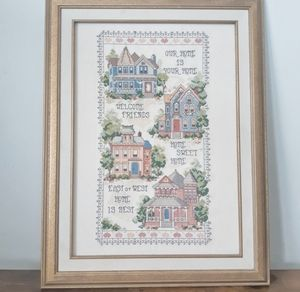 House Needlepoint in Gold Frame